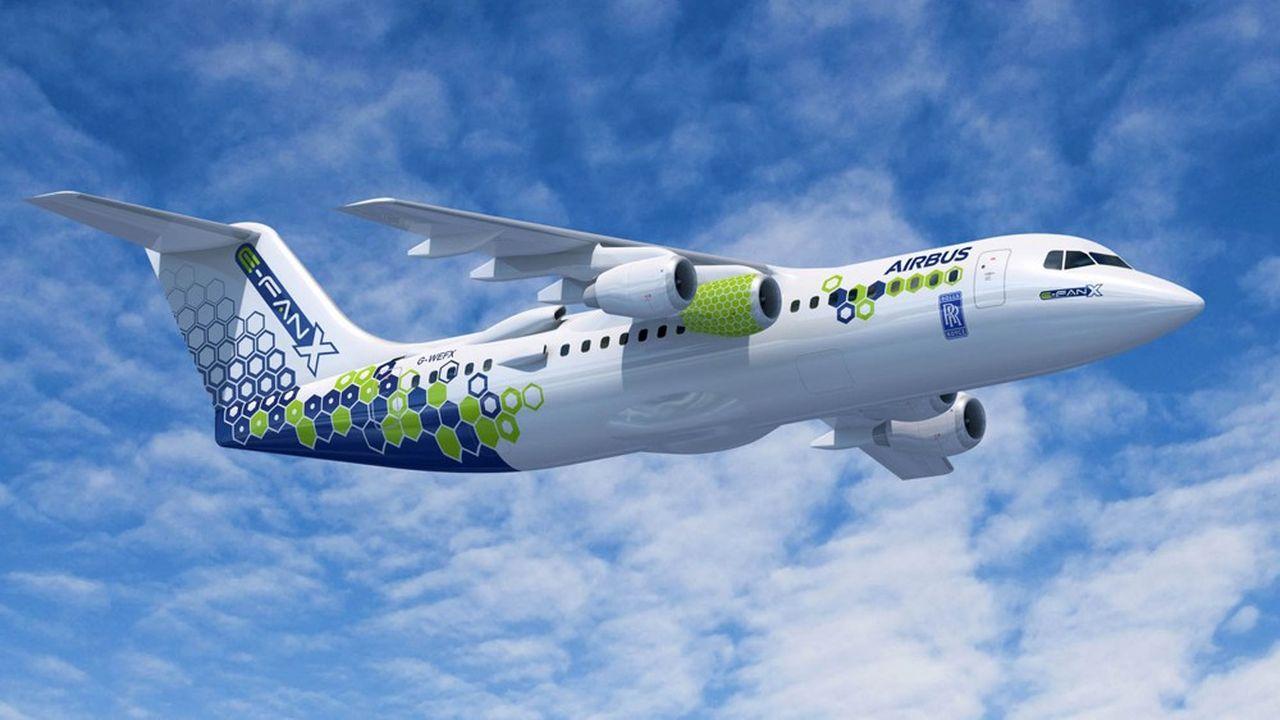 L'E-Fan X, le projet de démonstrateur à propulsion hybride d'Airbuset Rolls Royce, pourrait déboucher sur un avion régional décarboné.
