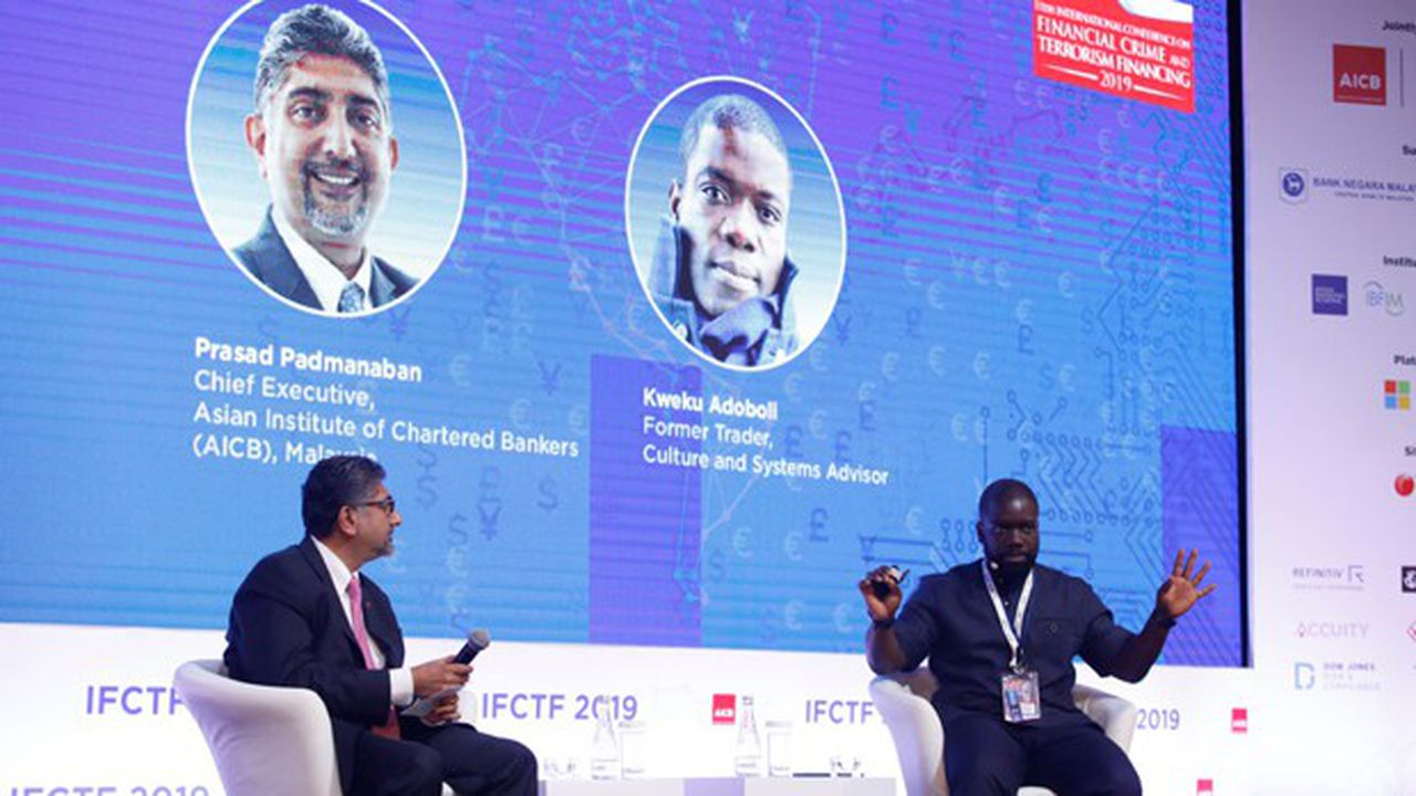 L'ex-trader d'UBS Kweku Adoboli témoignant des difficultés des opérateurs de marchés début novembre à la conférence internationale du crime financier et du financement du terrorisme à l'Asian Institute de Chartered Bankers, à Kuala Lumpur, début novembre.