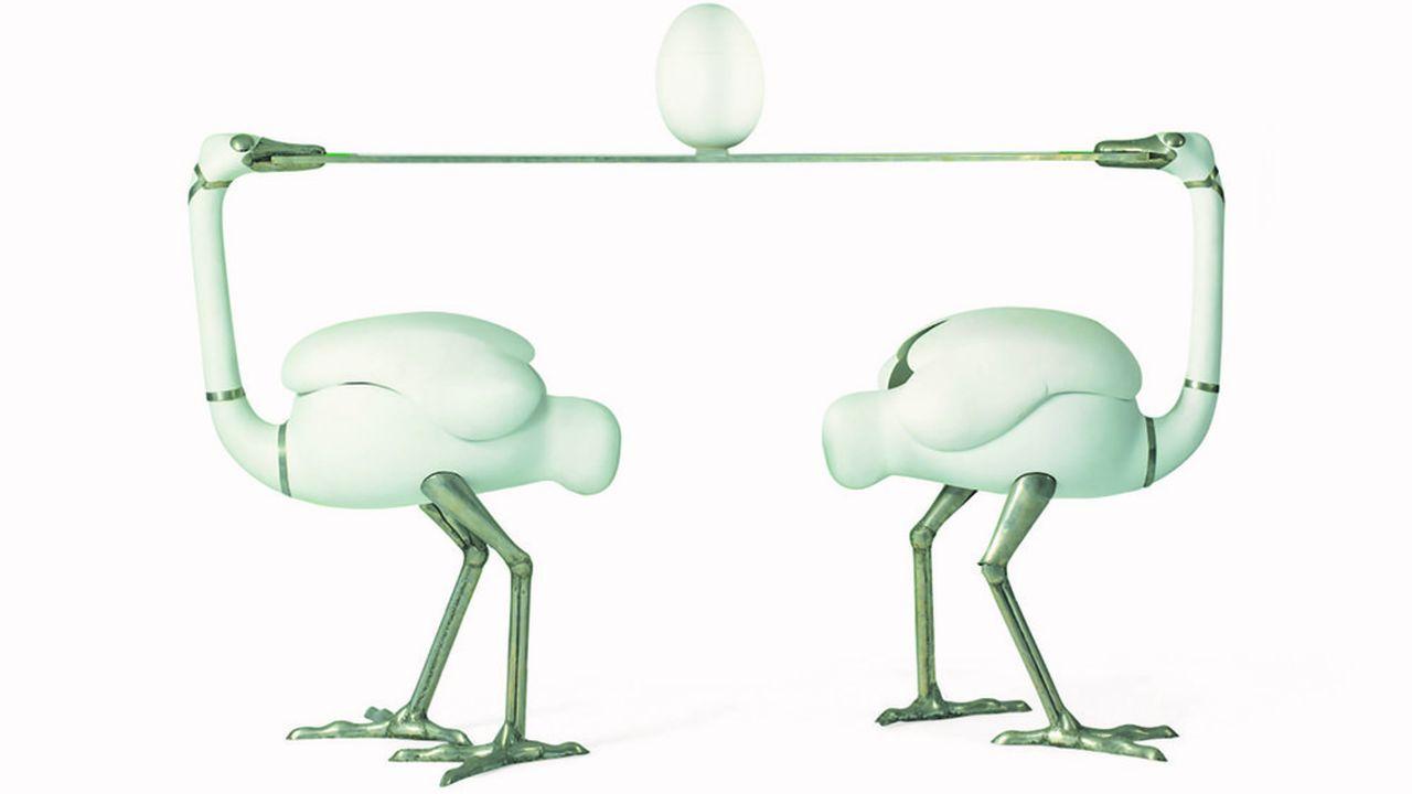 Les Autruches Bar,1967-1970. François-Xavier Lalanne et Manufacture de Sèvres. 6. 191.150 euros, deuxième plus haut prix pour l'artiste.