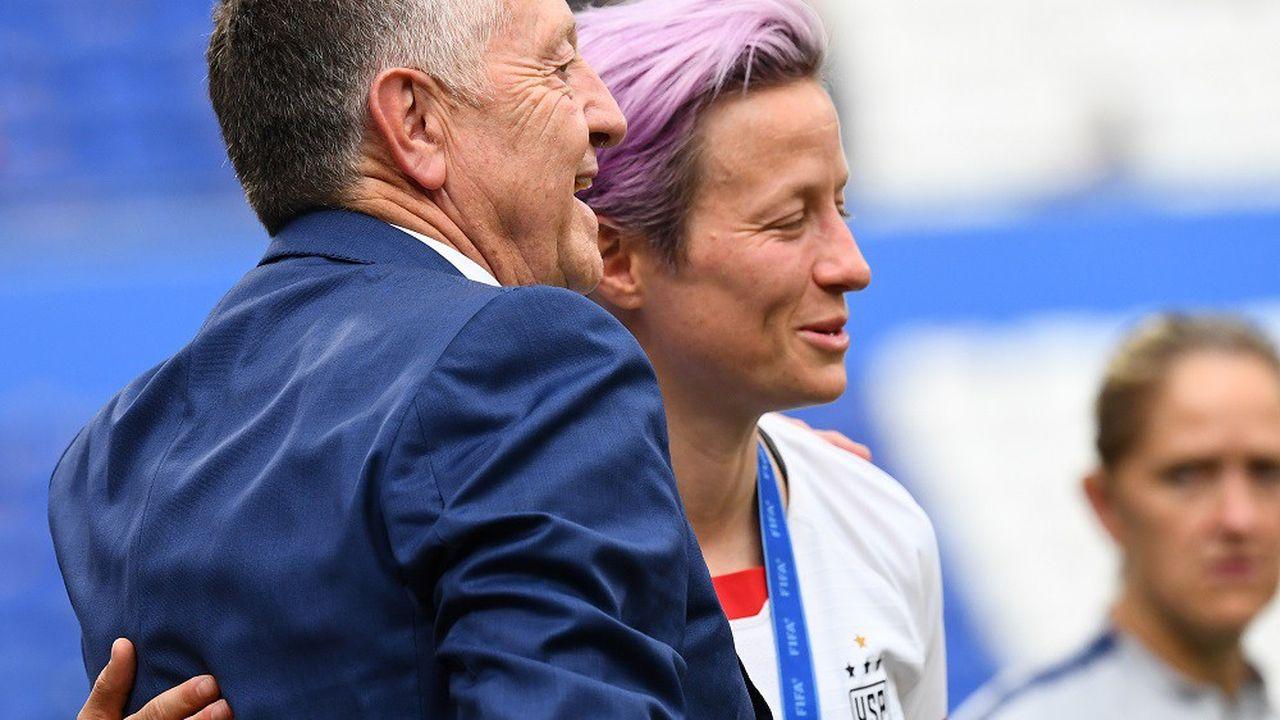 Jean-Michel Aulas et Megan Rapinoe, lors de la Coupe du monde 2019.