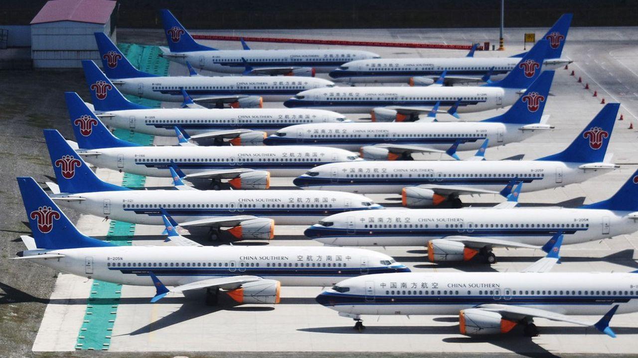 Depuis la mi-mars2019, l'intégralité des 737 MAX de Boeing est clouée au sol comme ici ceux de la compagnie China Southern.