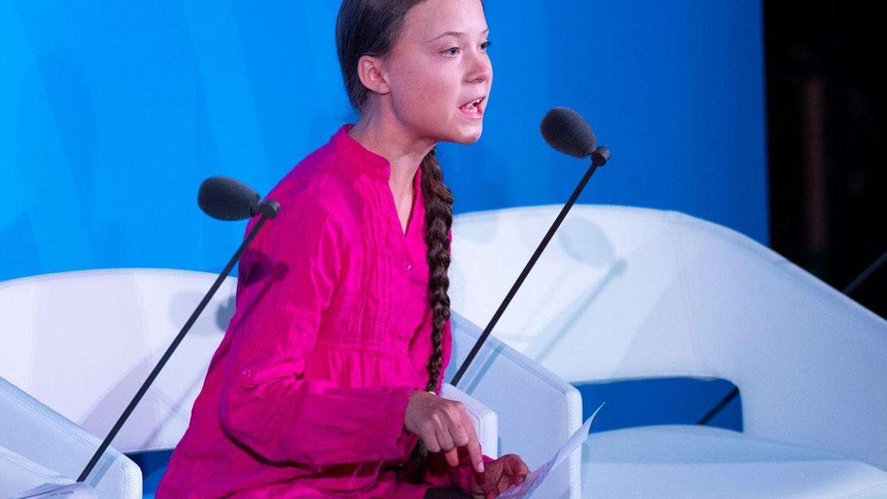 L'activiste climatique Greta Thunberg délivre un discours aux Nations unies le 23septembre à New York.
