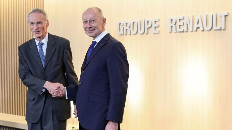 Jean-Dominique Senard (à gauche) est nommé président de Renault, le 24 juin 2019. Thierry Bolloré est maintenu au poste de directeur général.