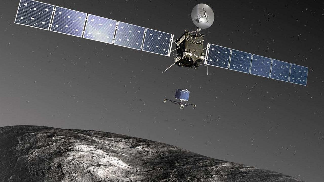Début août2014, après un voyage de dix ans, Rosetta se met en orbite autour de Tchouri et envoie ses premières photos de la comète.