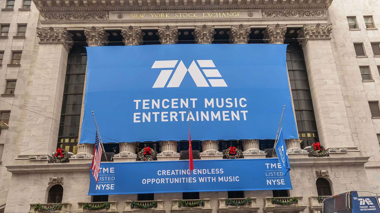 Tencent Music Entertainment, la filiale de Tencent dédiée à la musique, lors de son entrée en Bourse à Wall Street fin 2018.