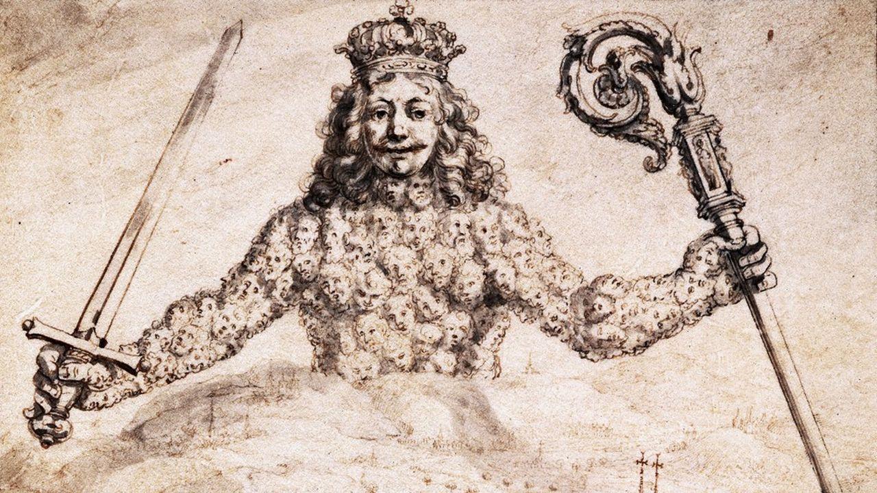 Dessin à la plume du frontispice du manuscrit du Léviathan offert en 1651 par Hobbes à Charles II.
