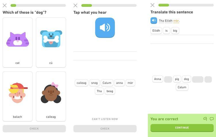 Captures d'écran du cours Scottish Gaelic de Duolingo.