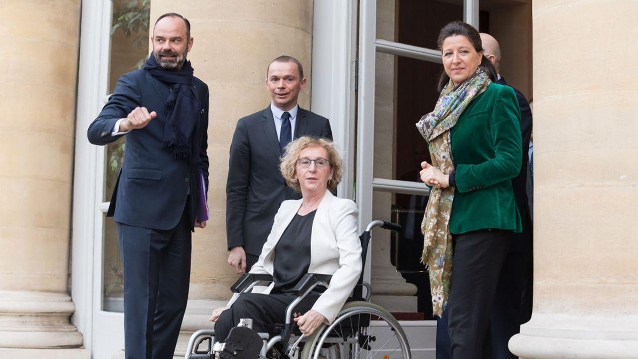 Edouard Philippe, Olivier Dussopt, Muriel Pénicaud et Agnès Buzyn.