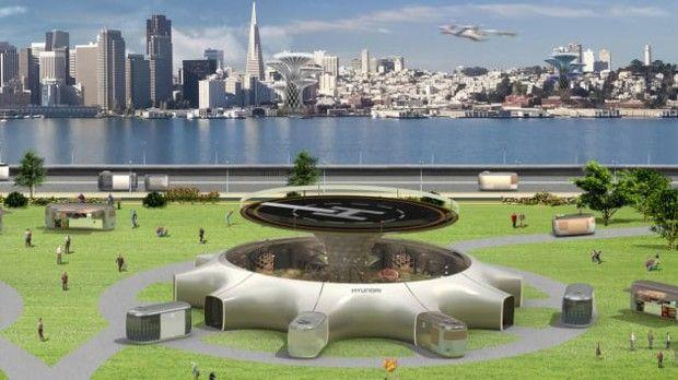 Concept de gare aérienne présenté par Hyundai.