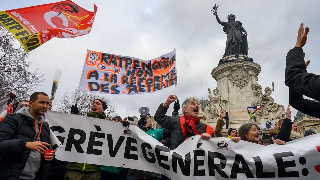 Manifestation à Paris lors du 31e jour de mobilisation contre la réforme des retraites.