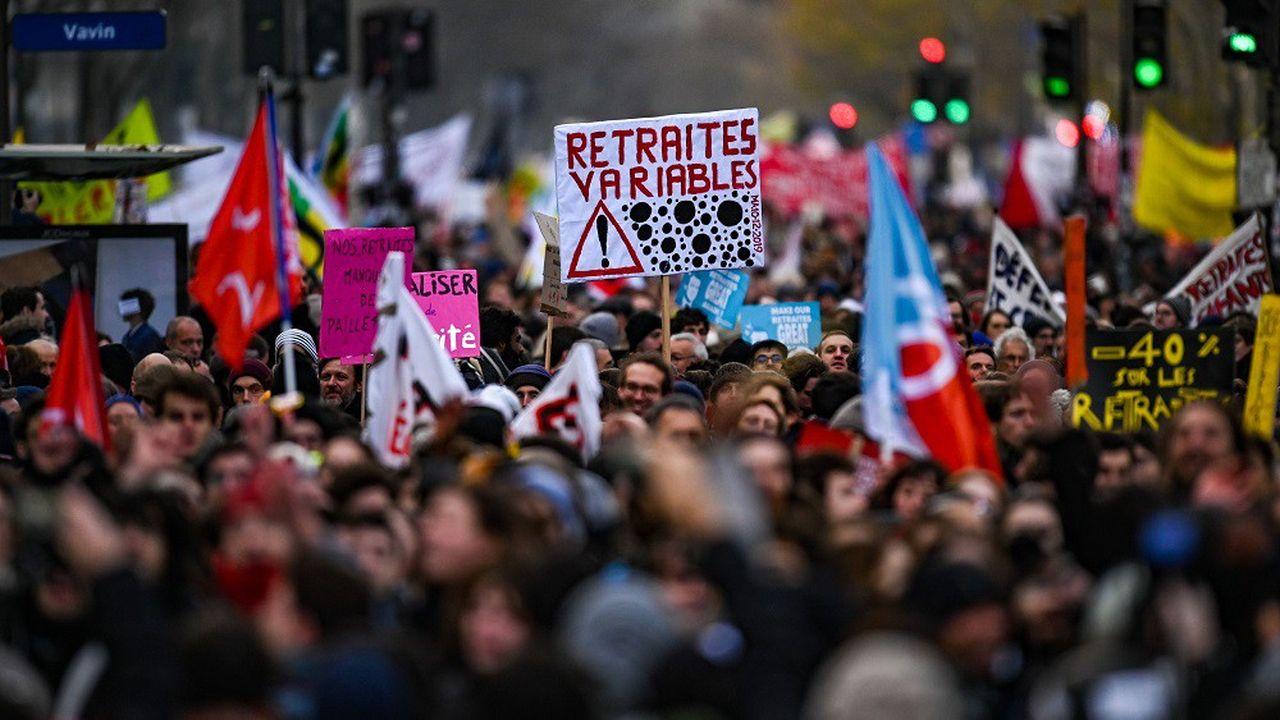 Manifestation contre la réforme des retraites à Paris le 10décembre 2019.