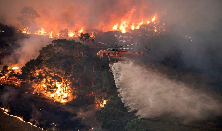 Un hélicoptère luttant contre le feu près de Bairnsdale en Australie, le 31décembre.