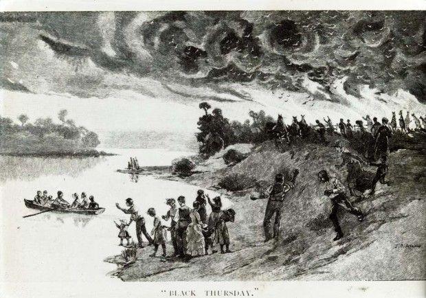Lors du 'Jeudi noir' de 1851, 5millions d'hectares de végétation ont brûlé.