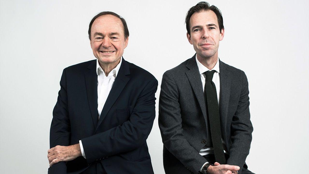 Jérôme Jaffré (à gauche) et Julien Vaulpré, politologues, posent pour le Grand Entretien des « Echos », le 8 janvier 2020.