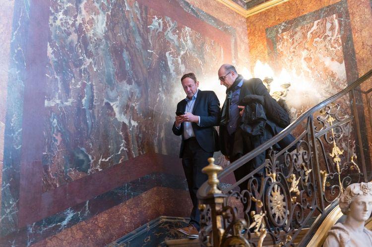 Laurent Escure, secrétaire général de l'Unsa, à la sortie de son rendez-vous à Matignon.