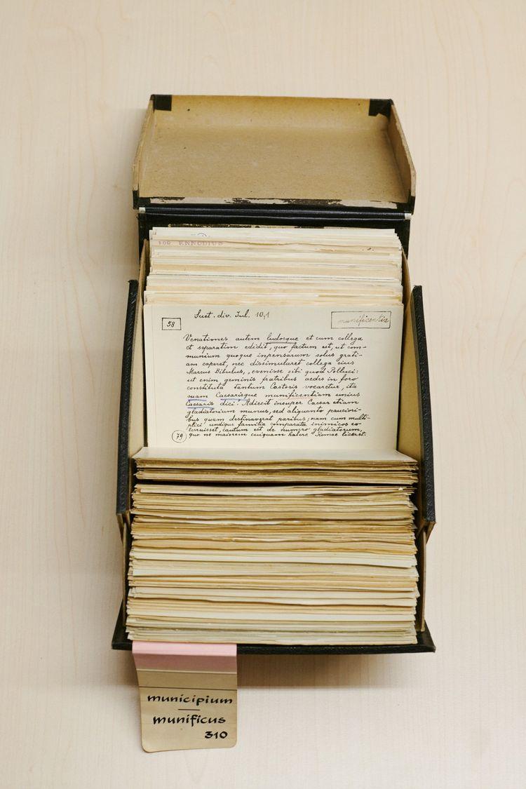 Une boîte recensant quelques fiches de la lettre M, de Municipium à Munificus.
