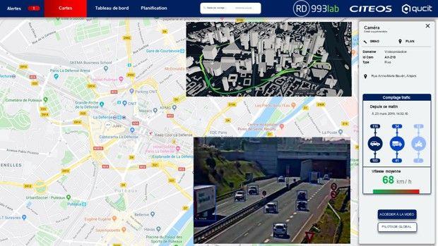 Interface de prédiction d'engorgement de trafic pour réguler au mieux le fonctionnement des feux.