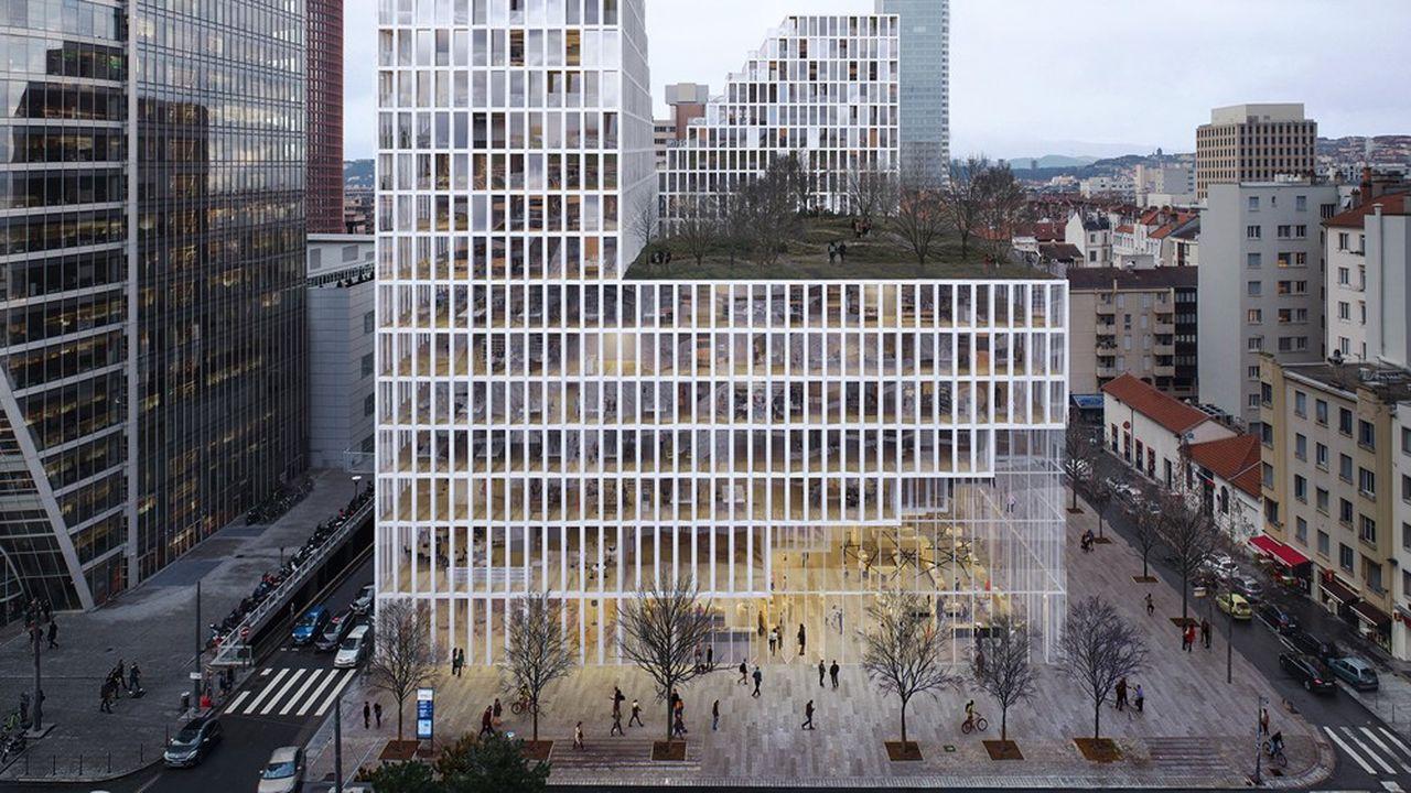 Imaginé par le trio d'architectes Sou Fujimoto, Atelier Dream et Exndo, le nouveau bâtiment proposera au total 31.000 m² de surfaces utiles dont 22.000 m² d'espaces tertiaires.