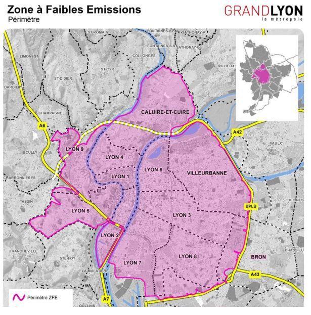 Le périmètre de la Zone à faibles émissions.