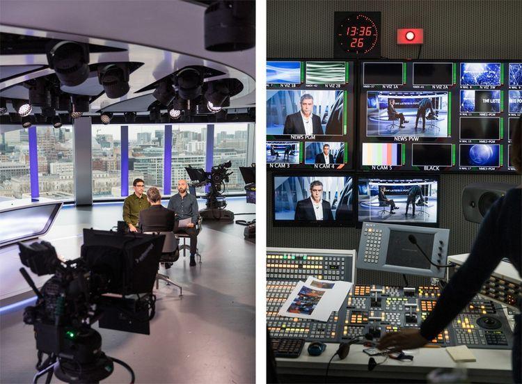Al Jazeera English: enregistrement de l'émission «The Listening Post» et vue de la régie.