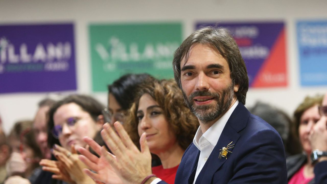 Cédric Villani, en meeting lundi soir avec Isabelle Saporta.