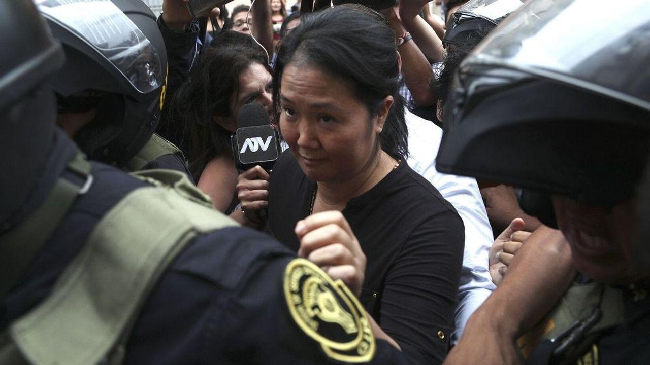 Keiko Fujimori a été arrêtée mardi dans l'enceinte du palais de justice de Lima.