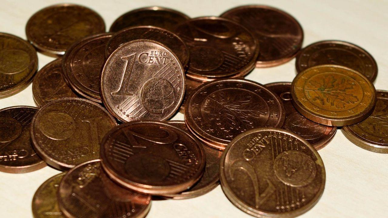 Les pièces de 1 et 2 centimes restent souvent dans le porte-monnaie de leurs propriétaires.