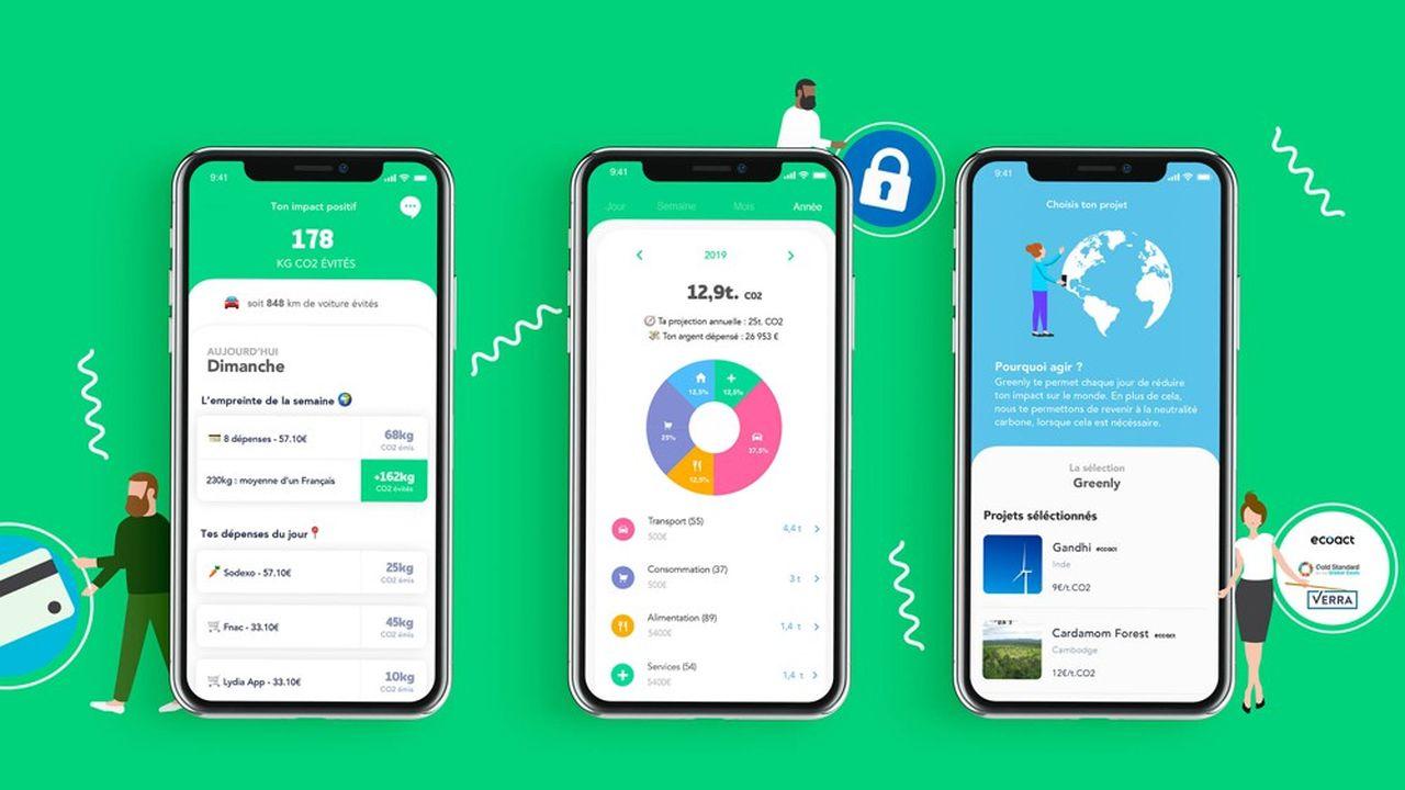 L'application mobile Greenly réalise une analyse personnalisée des kilogrammes de CO2 émis et évités par dépense, à partir de données de transactions bancaires de l'utilisateur.