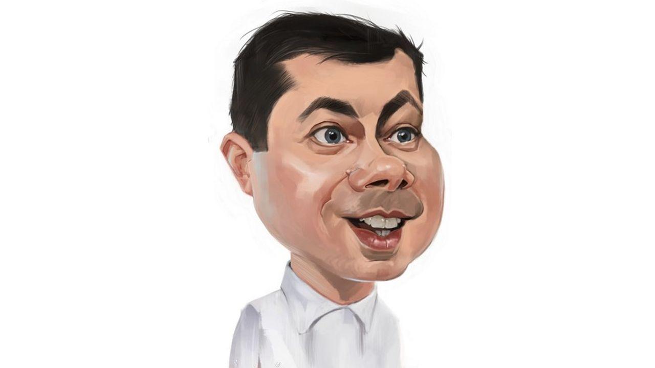 Pete Buttigieg, caricature par ïoO, pour «Les Echos»