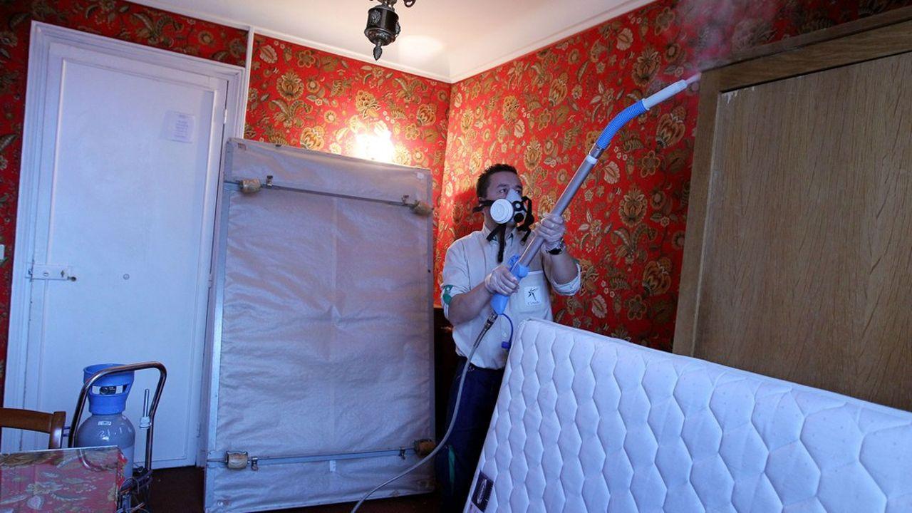 Opération de traitement contreles punaises de lit à Paris.