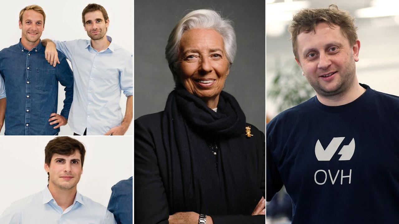 Thibaud Hug de Larauze, Quentin Le Brouster et Vianney Vaute (Back Market), Christine Lagarde (BCE) et Octave Klaba (OVH).