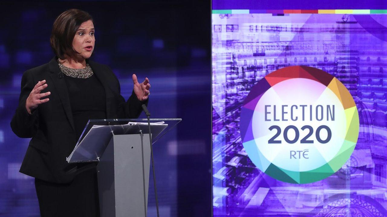 La présidente du Sinn Fein, Mary Lou McDonald, lors du dernier débat télévisé de la campagne électorale.