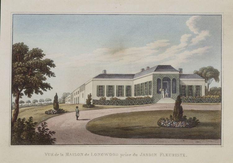« Vue de la maison de Longwood près du jardin fleuriste», Gravure en couleur du Carnet d'un voyageur, ou recueil de notes… sur la vie de Buonaparte à Longwood, du capitaine Barnes (1819).