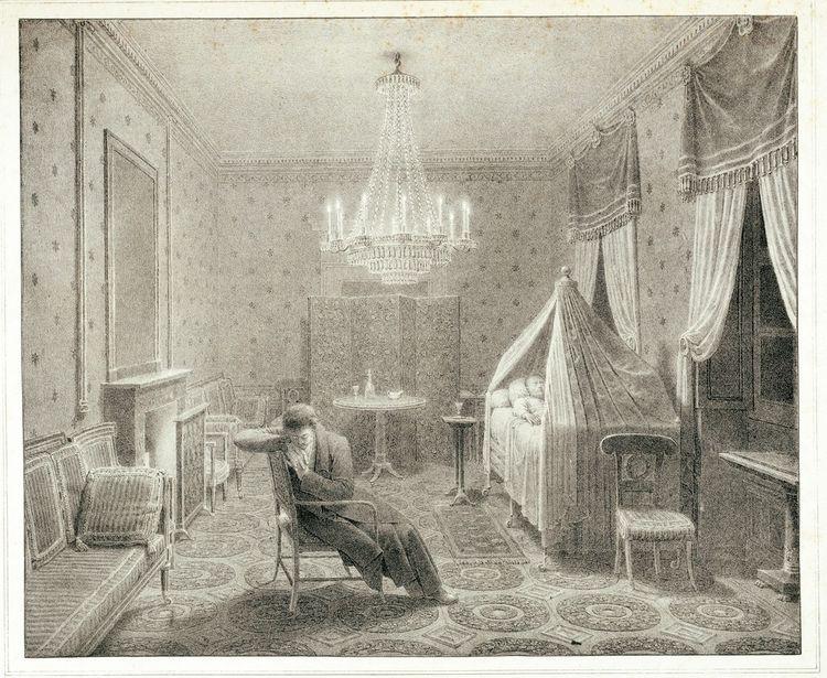 Napoléon agonisant dans son salon à Saint-Hélène (gravure réalisée vers 1825), veillé par Louis Marchand, son valet.