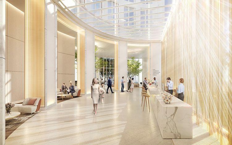 Le lobby a été pensé comme un lobby hôtelier.
