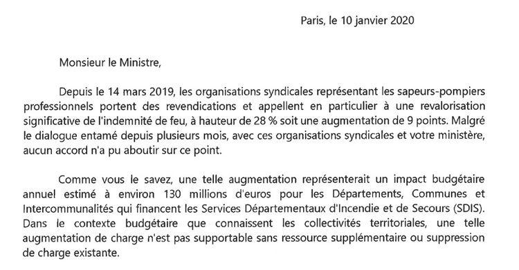 Extrait de la lettre adressée au ministre de l'Intérieur le 10janvier par l'AMF et l'Assemblée des départements de France.