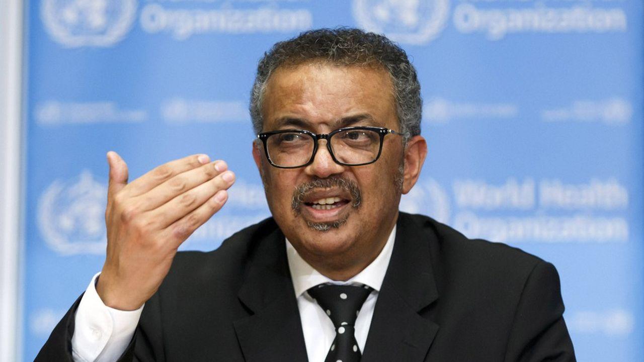 Tedros Adhanom Ghebreyesus, le directeur général de l'Organisation mondiale de la santélors d'une conférence de presse à Genève.