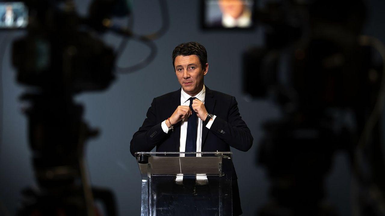 Benjamin Grivaux, lors de l'annonce du retrait de sa candidature à la mairie de Paris.