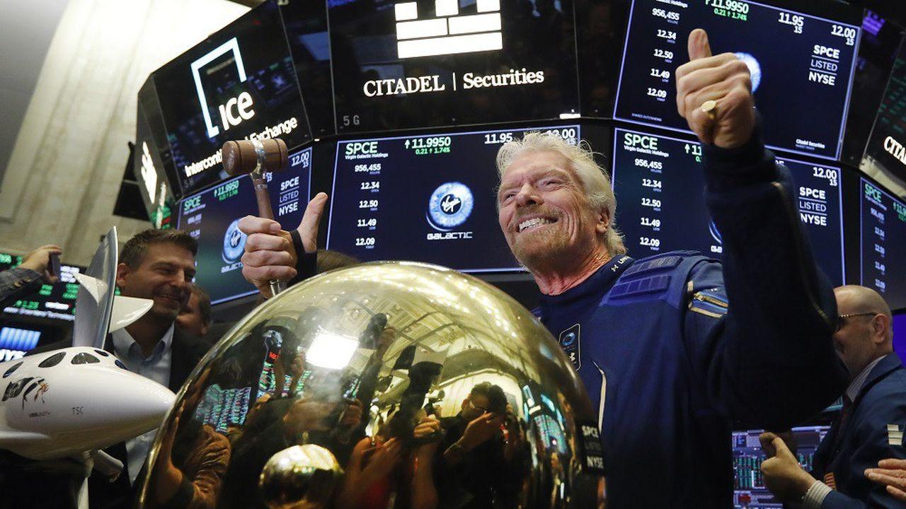 Richard Branson, fondateur de Virgin Galactic, lors de l'entrée en Bourse de la société à New York le 28octobre 2019.