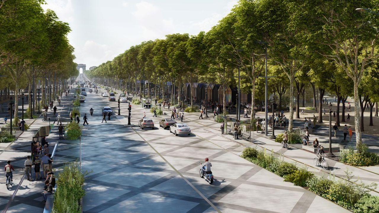 Une perspective de ce que pourrait être l'avenue des Champs-Elysées dans 10 ans