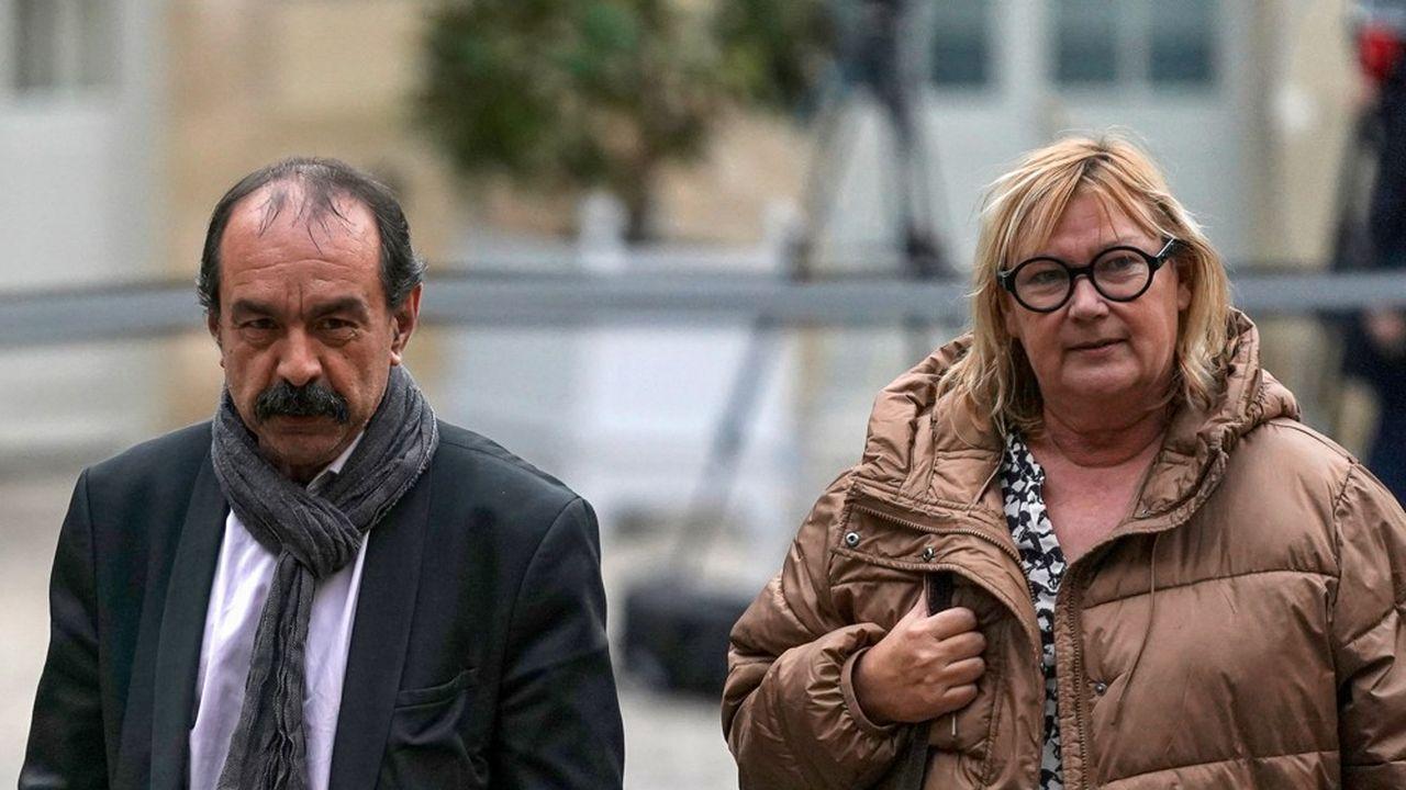 Catherine Perret, numéro deux de la CGT, avec Philippe Martinez, le leader du syndicat.