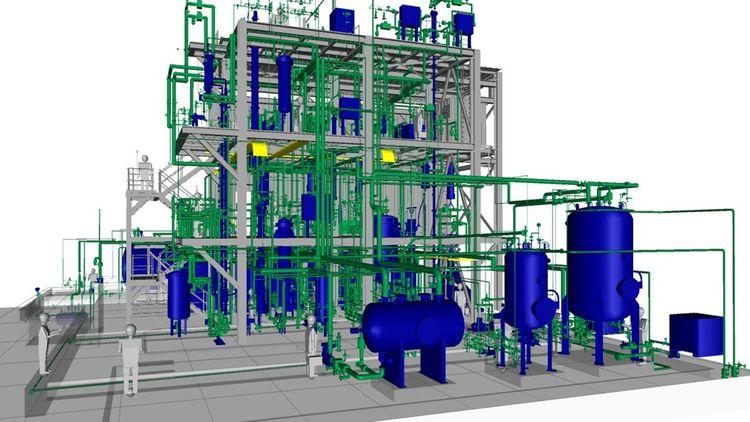La maquette du démonstrateur industriel dont la construction vient de démarrer à Bassens, près de Bordeaux, à proximité d'une usine de caoutchouc synthétique de Michelin.