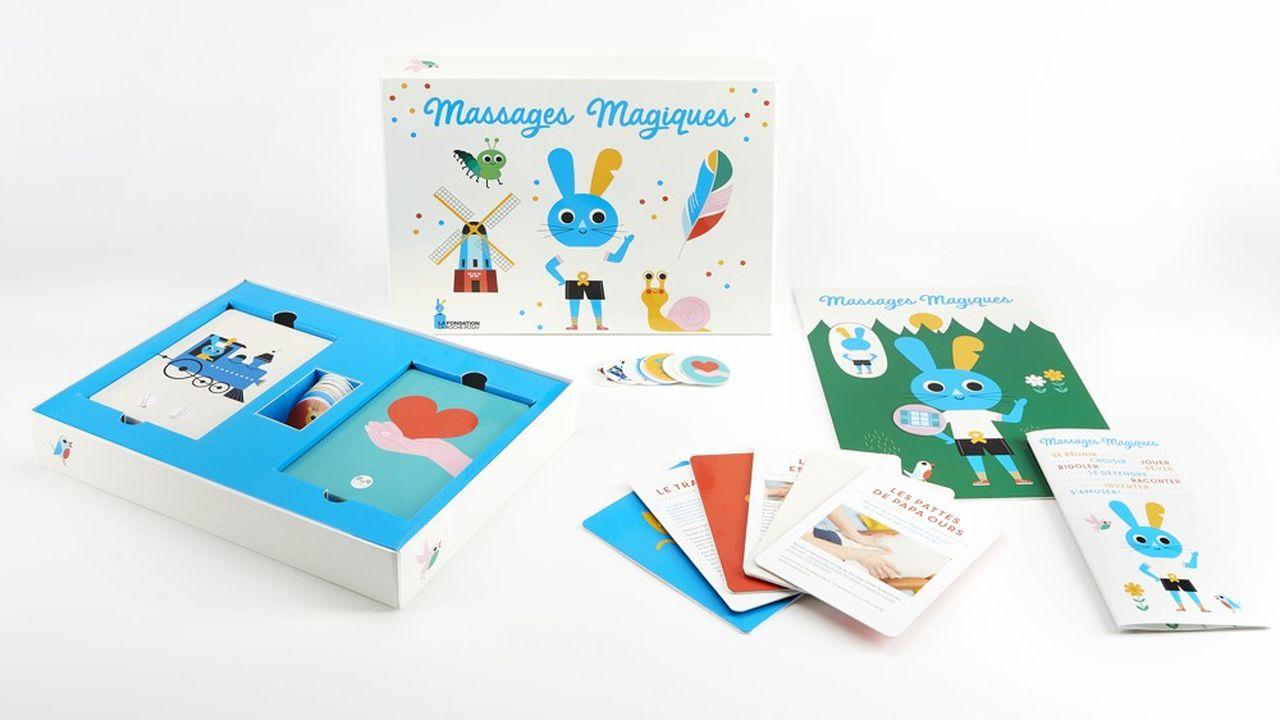 Un jeu permet à l'enfant de choisir la partie de son corps qu'il souhaite que ses parents massent.