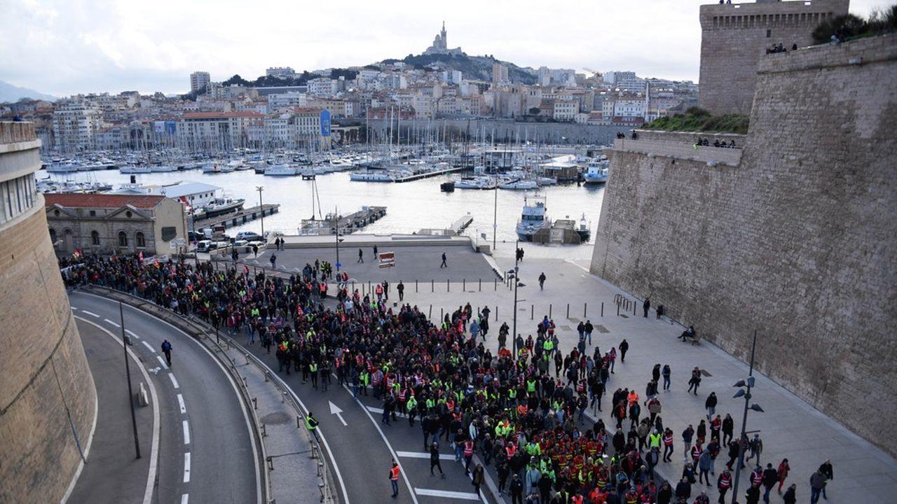 Manifestation de dockers contre les retraites en janvier dernier.