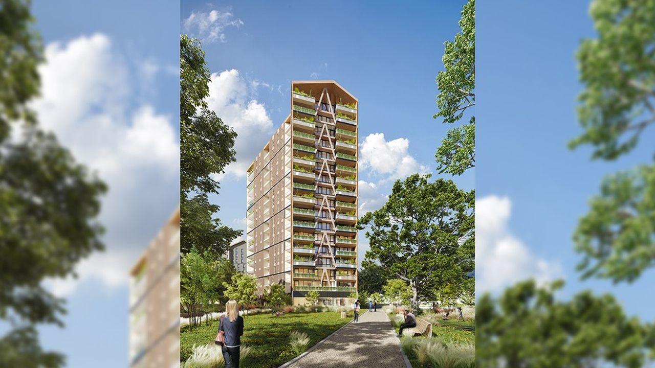 La tour Silva, qui sortira de terre l'an prochain, sera une des plus hautes jamais réalisées en ossature bois, tout comme la tour Hypérion.