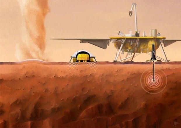 Vue d'artiste de l'atterrisseur de la mission InSight et du sismomètre Seis.