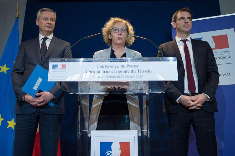 Bruno Le Maire (ministre de l'Economie), Muriel Pénicaud (Travail) et Olivier Véran (Santé).