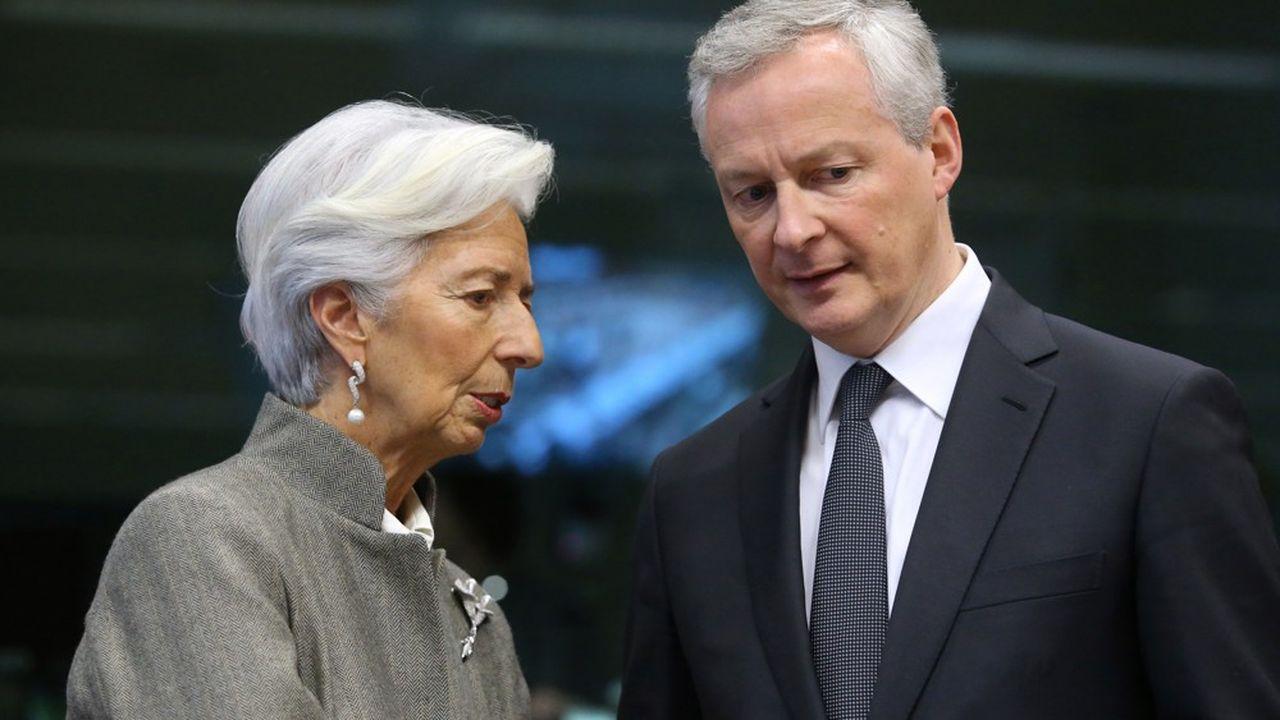 La présidente de la Banque centrale européenne, Christine Lagarde, et Bruno Le Maire, ministre des finances, ont participé à la conférence téléphonique de l'Eurogroupe mercredi.