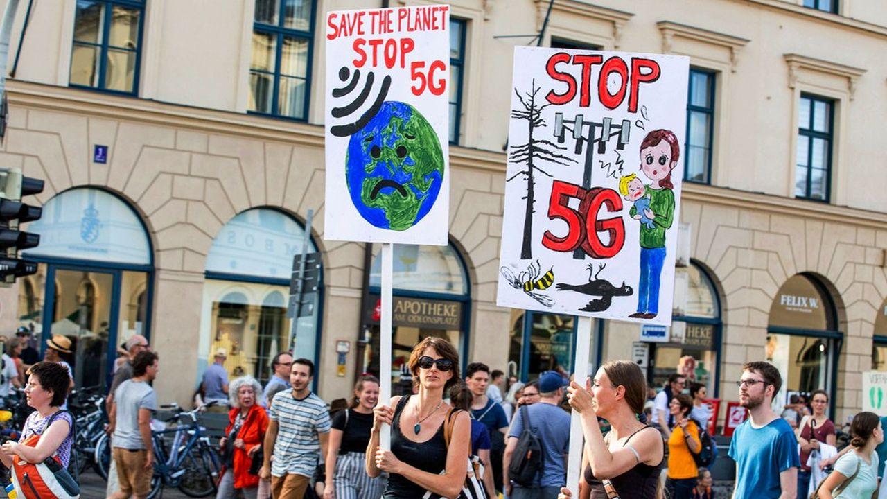 Les oppositions à la 5G sont vigoureuses en Europe (ici, à Munich en juillet 2019)