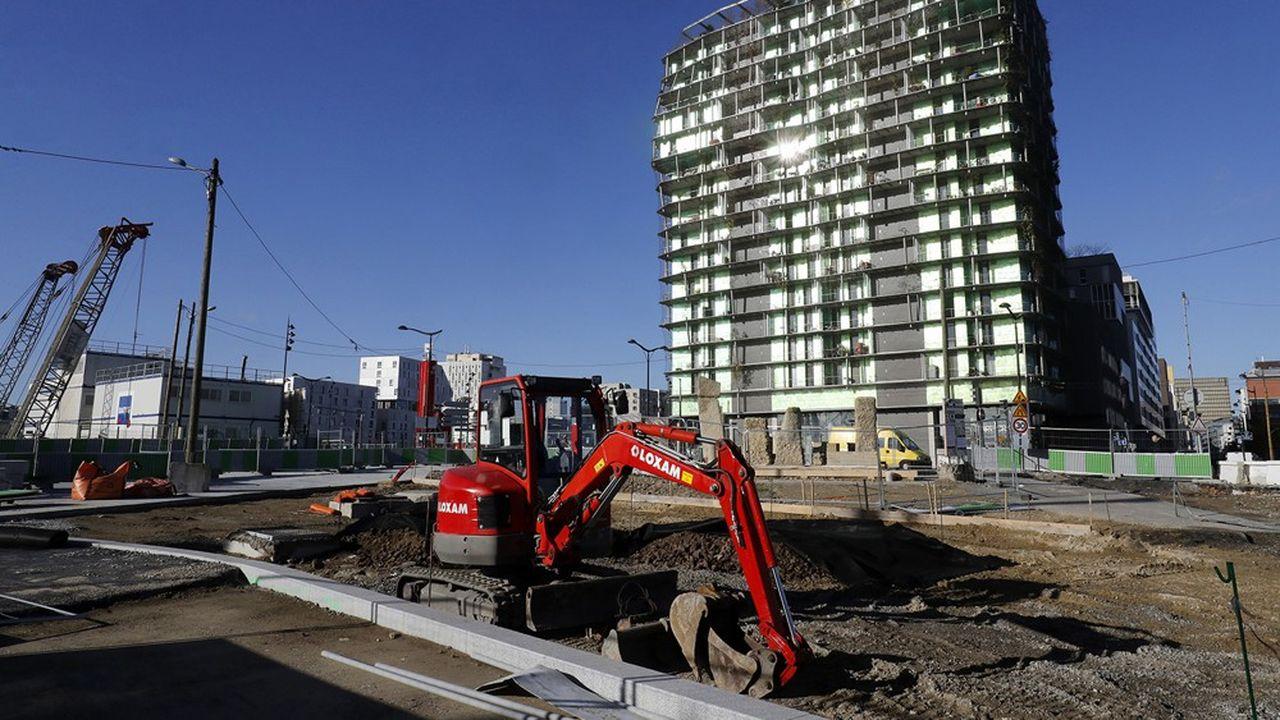 Des travaux de construction fin 2017 dans le 13e arrondissement de Paris.